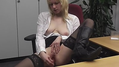 German Secretary Masturbating