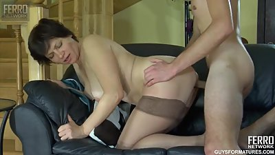 Guy fuck Russian Mature maid in..