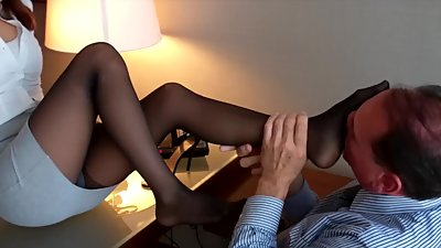 Office Black Pantyhose Footjob 3