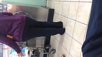 Cute Mexican BBW booty at laundromat
