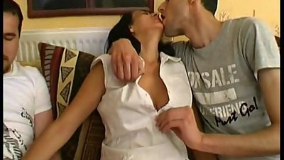 Hairy French MILF Sonia takes 2 cocks
