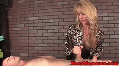 Busty milf masseuse tugging and..