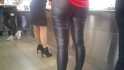 Office secretary milf in leather pant..
