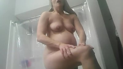 Caught pregnant wife nude after shower..