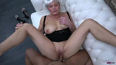Busty mom with fake hair enjoy young..