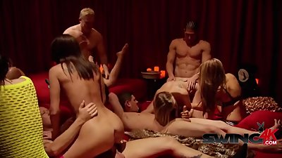 Gorgeous girls pounded by friends