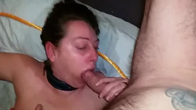 Whore wife tied up fucked and facial..
