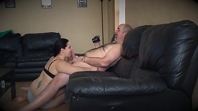 Curvy Wife Sucks Dick and Takes A Load..