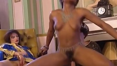 Ebony babe with nice boobs gets to..