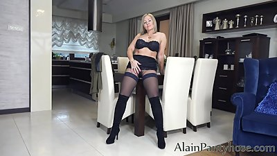 Ala in pantyhose layered nylons show..