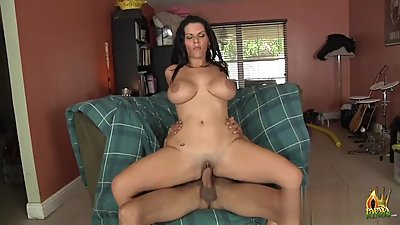 Hot busty brunette MILF loves BBC