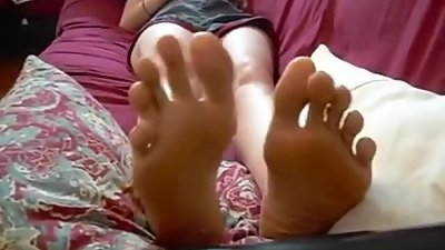 big feet long toes tease