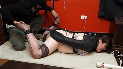 Chubby girl tickled and stimulated in..