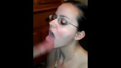 My nerd milf sucks cock and gets facial