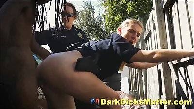 Crazy Milf Cops Strip & Fuck Black..