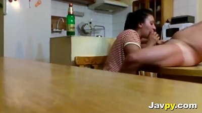 Hot Milf girlfriend blowjob in kitchen