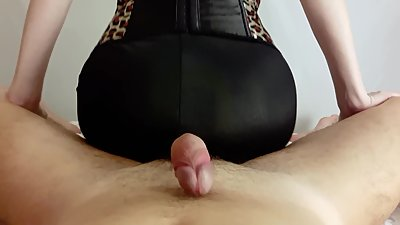 Milf makes assjob in spandex pants...