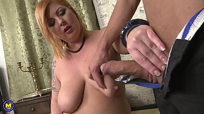 Busty chubby mother takes big cock