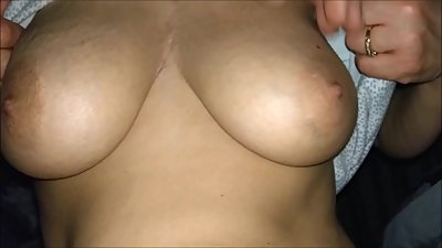 Wife  flashing her big tits for me