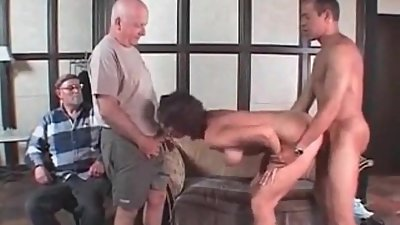 Cuckold MILF drilled by hired BBC Old..