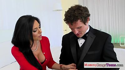 Nipple pierced stepmom bounces on hard..