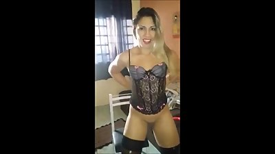 Hot milf with a sexy lingerie strips..
