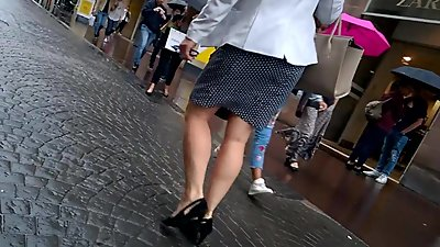 Sexy MILF with heels walking