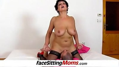 Panty sniffinig with big boobs lady..