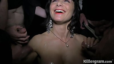 Cum slut Milf sucks strangers cocks in..