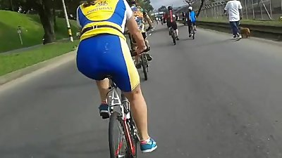 Women in bike shorts shiny