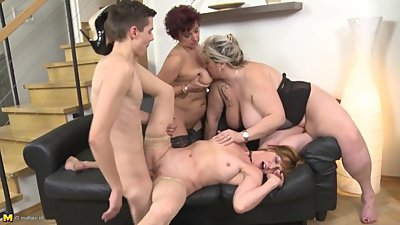 Mature busty MOMs seduce young stupid..