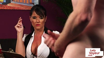British milf voyeur instructs her sub..